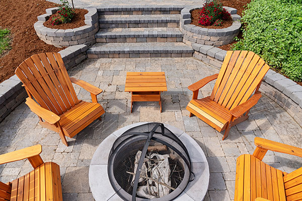 Alpine Stone outdoor living space patio fire pit